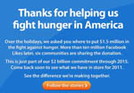 From November 15-December 31 (2010), Walmart successfully used their Facebook and supporting landing pages to have voters vote for the top six hungriest cities campaign. Votes exceeded Walmart Facebook likes, and community hunger data provided by FRAC became a starting point.