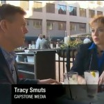 Tracy Smuts discussing media buying with Martin Savage of CNN